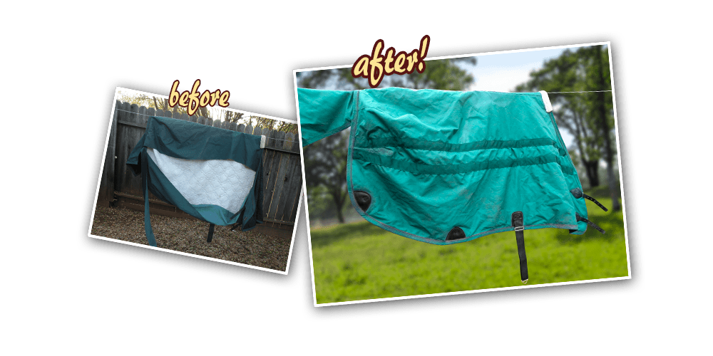 before after - J&K Horse Blanket Cleaning and Repair